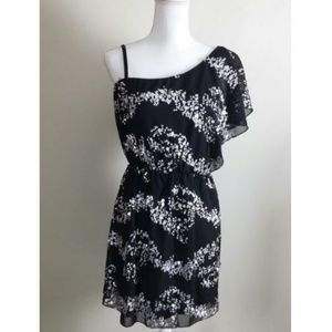 Trixxi One Shoulder Black Floral Tunic Dress